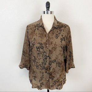 Vintage Semi Sheer Brown Button Up 3/4 Sleeve Top